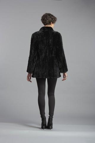 Black Sheared Beaver Knit Sweater Jacket