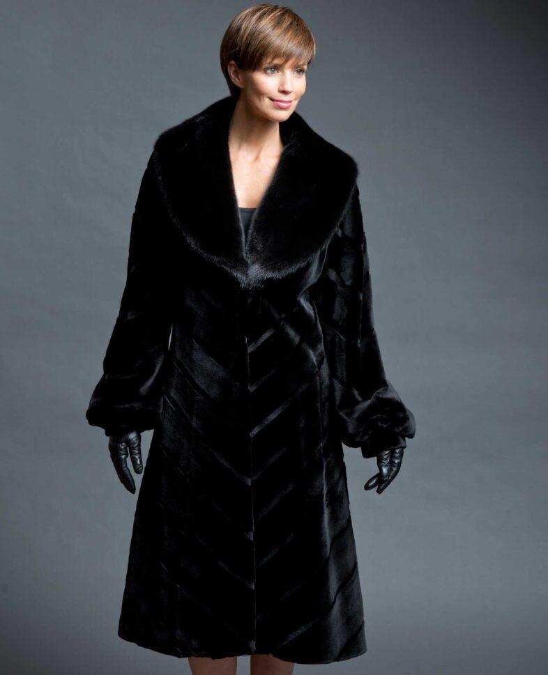 Black Sheared Mink V-Cut Coat