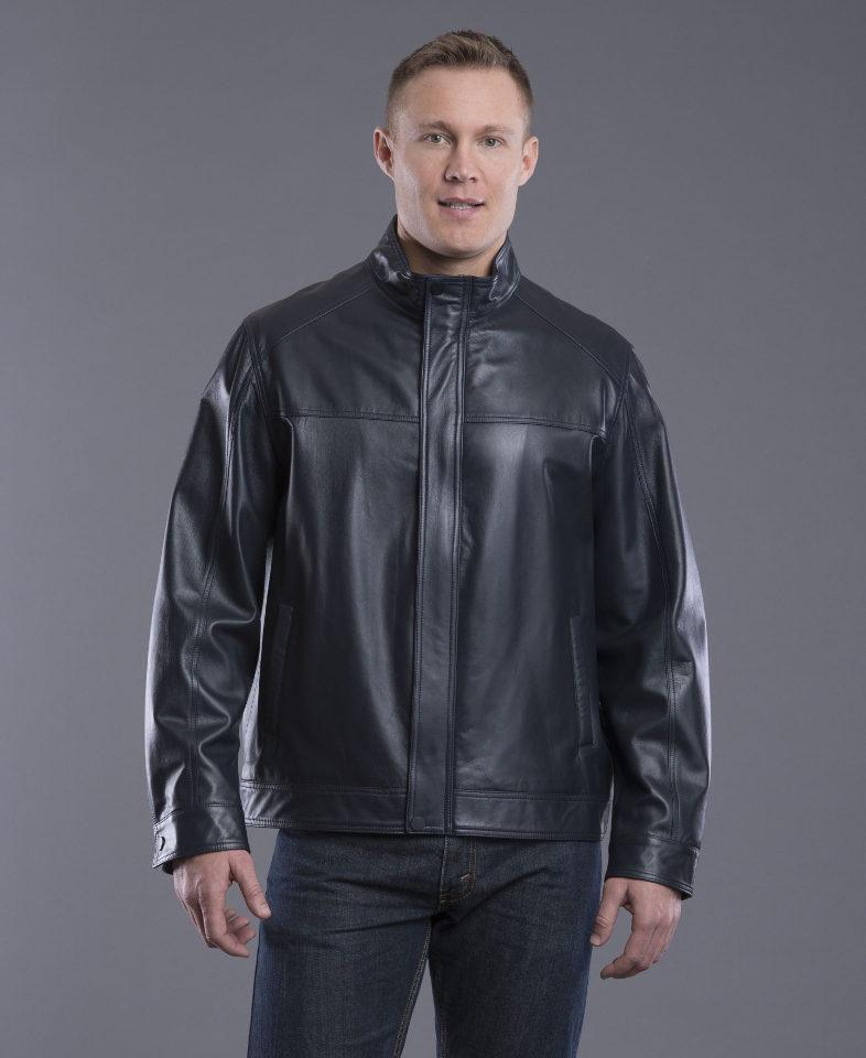 Navy Lambskin Leather Jacket