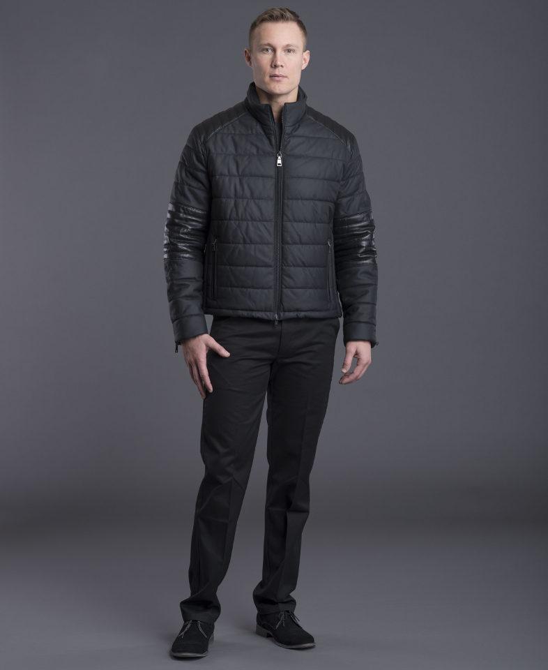 Black Puffer Leather Jacket