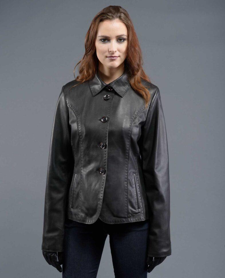 Black Leather Jacket With Stitching
