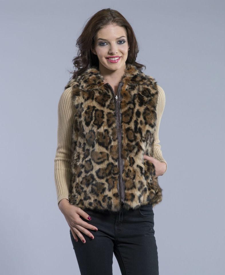 Leopard Print Rabbit Fur Reversible Vest