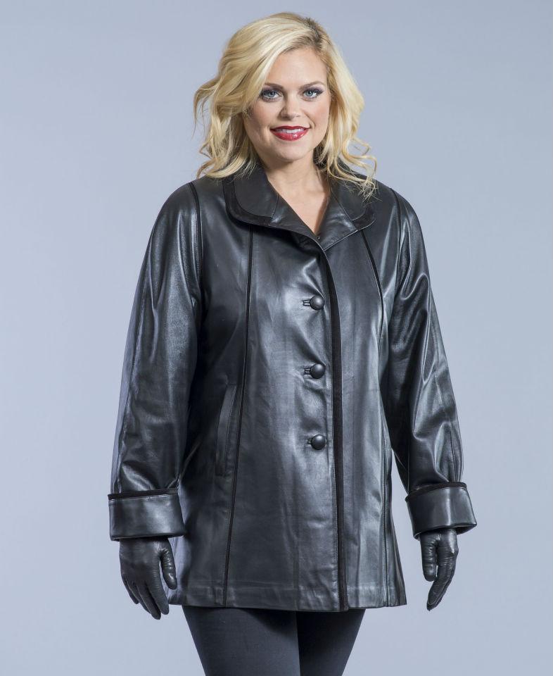 Swing Lambskin Leather Short Coat