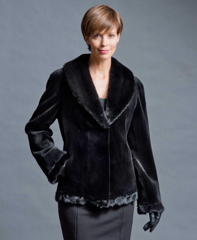 Black Sheared Mink Jacket With Mink Trim