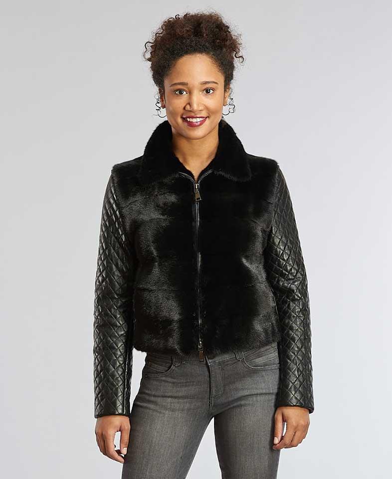 82418e263d3 Black Mink Jacket w/Zip-Off Leather Sleeves
