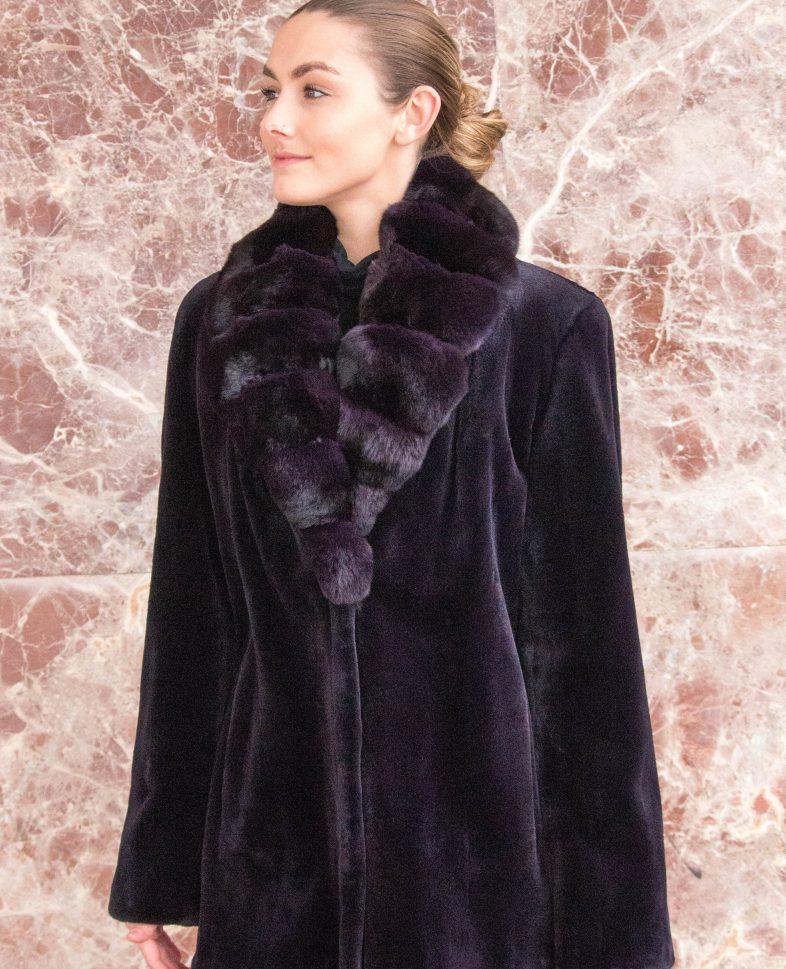 aa11ed350 Dyed Purple Sheared Mink Jacket w/Dyed Purple Chinchilla Collar